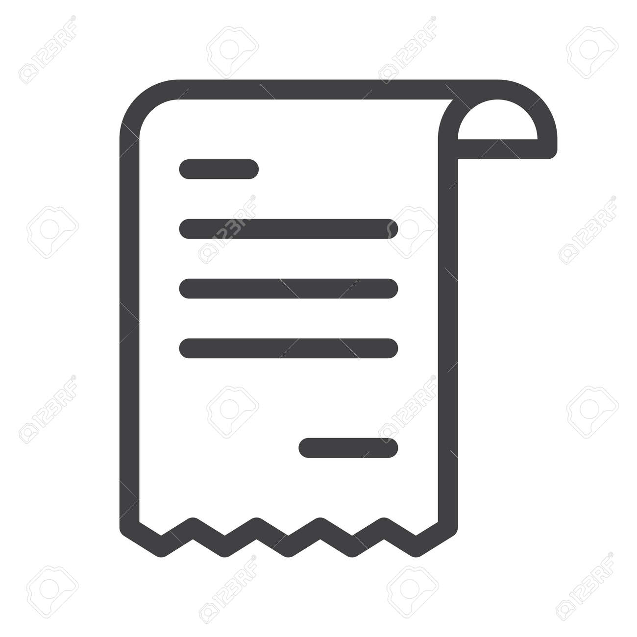 receipt line icon outline vector sign royalty free cliparts