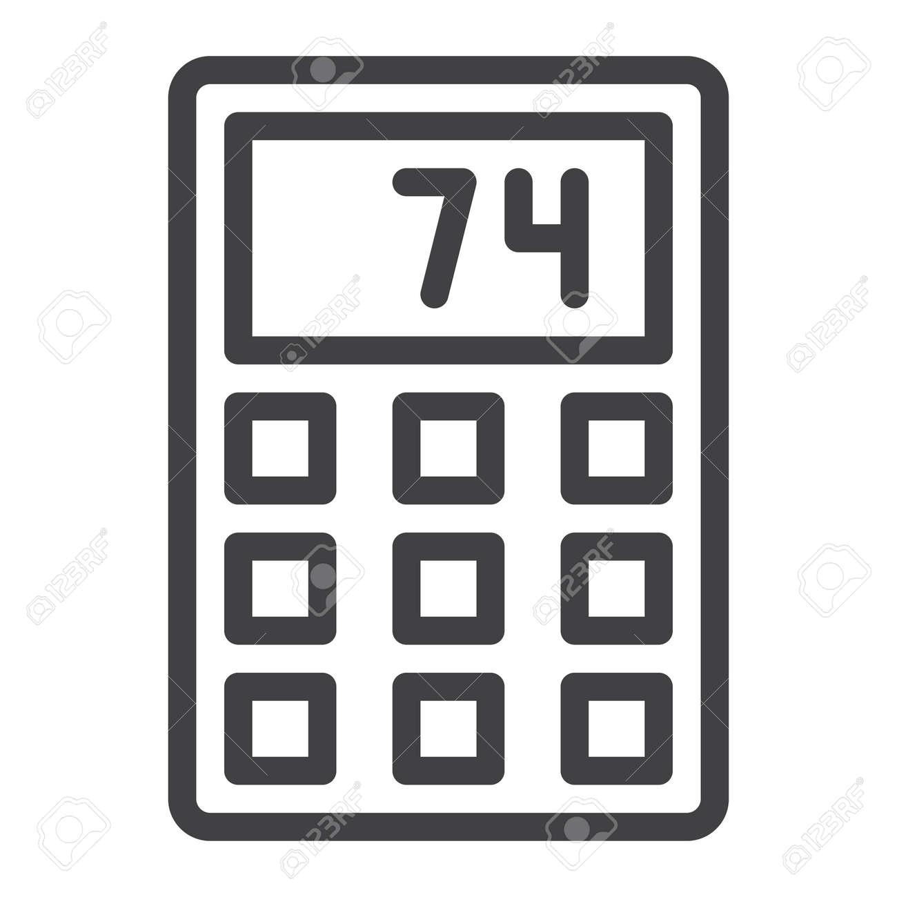 Calculator line icon, outline vector sign, linear style pictogram