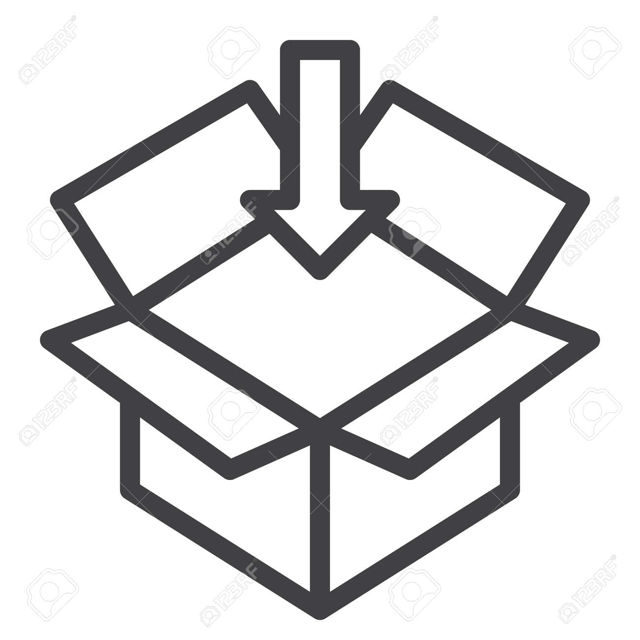 Open Box Line Icon Outline Vector Sign Linear Style Pictogram