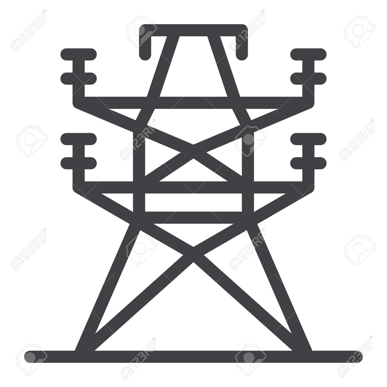 Electric Tower Line Icon, Outline Vector Sign, Linear Style ...