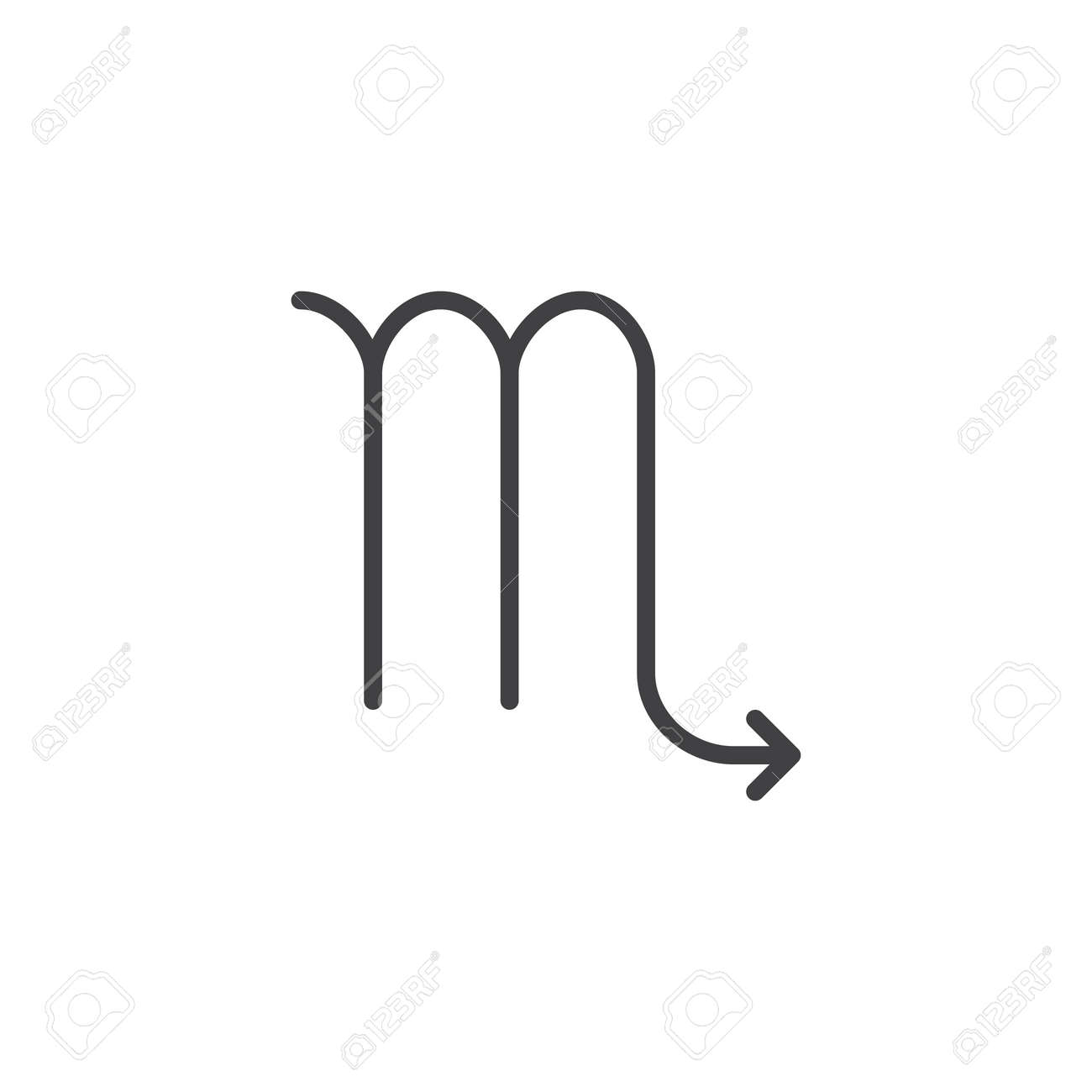 Scorpio zodiac sign line icon, outline vector sign, linear style