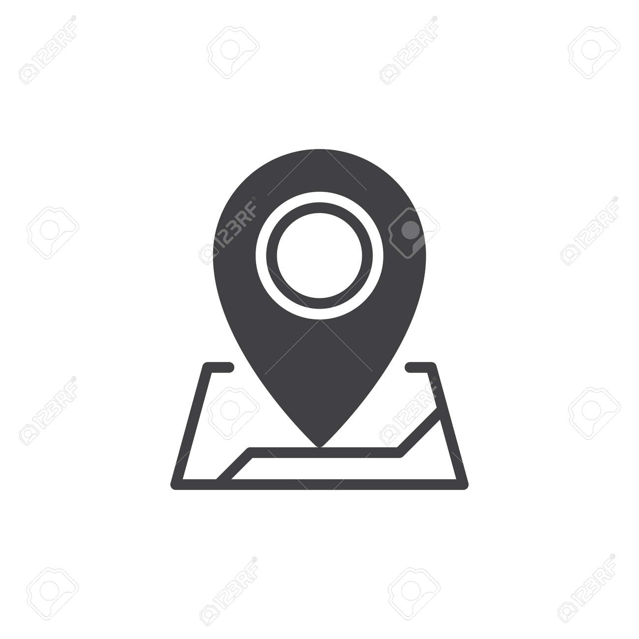 map pointer icon vector filled flat sign solid pictogram isolated