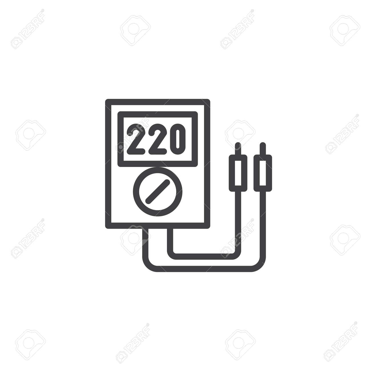 Voltmeter Line Icon Royalty Free Cliparts, Vectors, And Stock ...