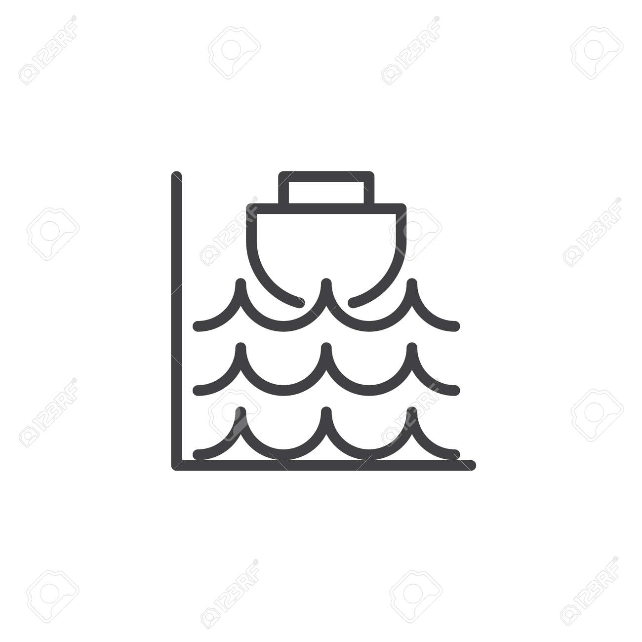 High tide line icon outline vector sign linear style pictogram high tide line icon outline vector sign linear style pictogram isolated on white biocorpaavc
