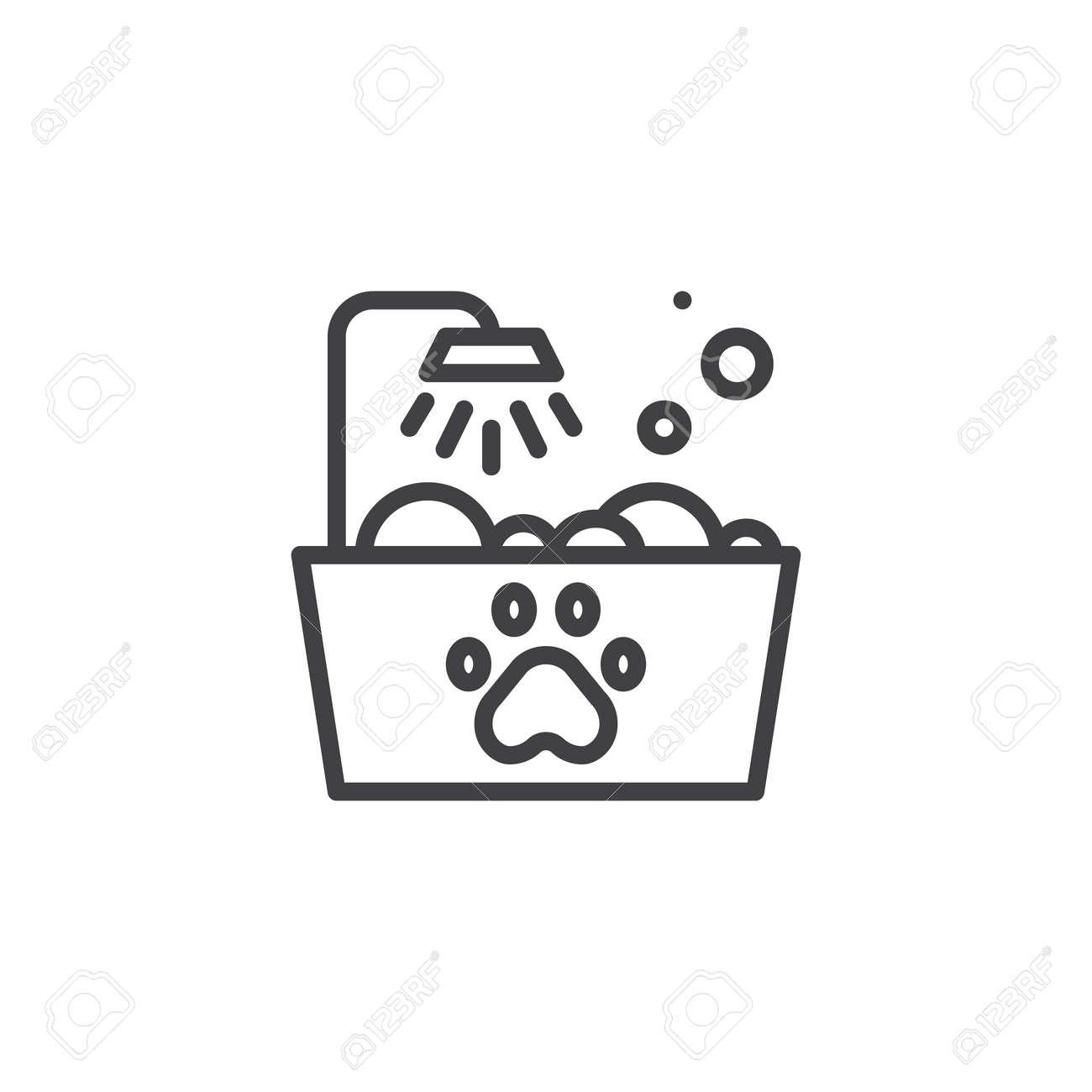 Pictograma Baño | Icono De Linea De Bano De Mascotas Signo De Vector De Contorno