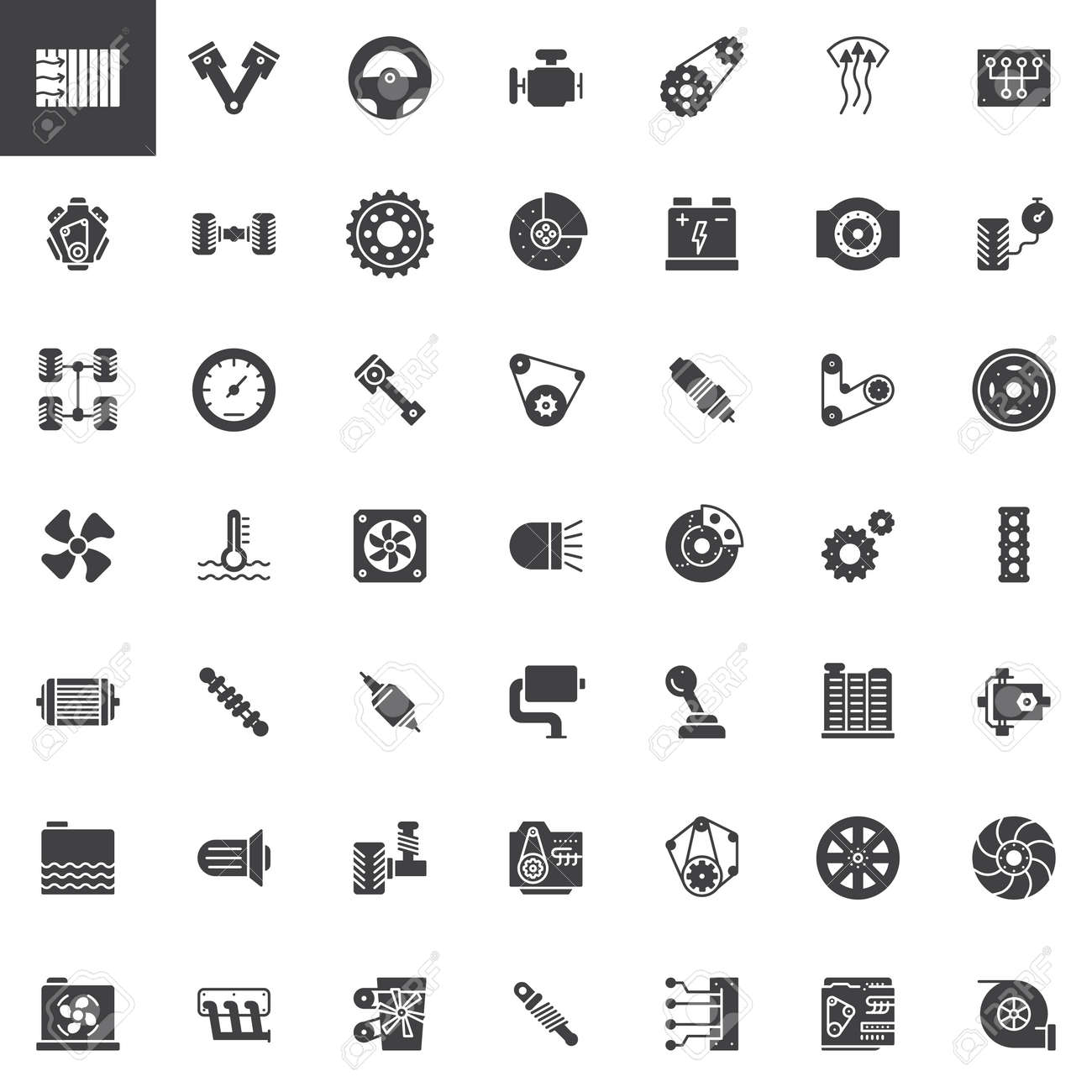 Car Parts Vector Icons Set Modern Solid Symbol Collection Filled