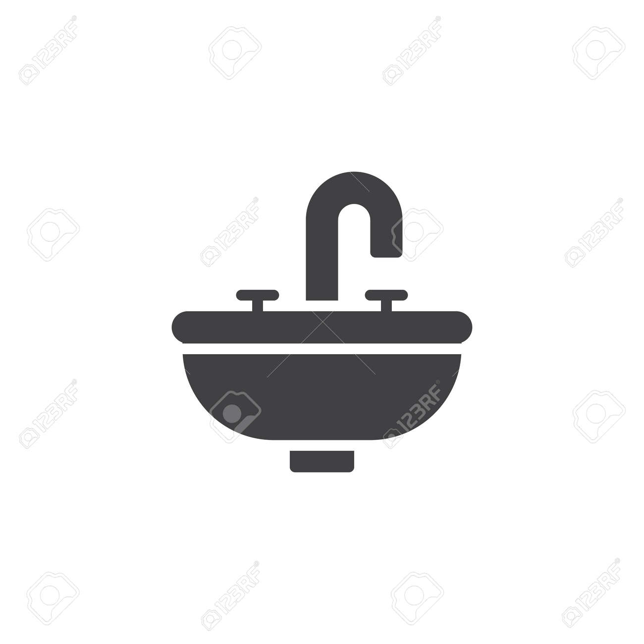 Symbol Logo Illustration Bathroom Sink Unit Icon Vector Filled Flat Sign Solid Pictogram Isolated On White