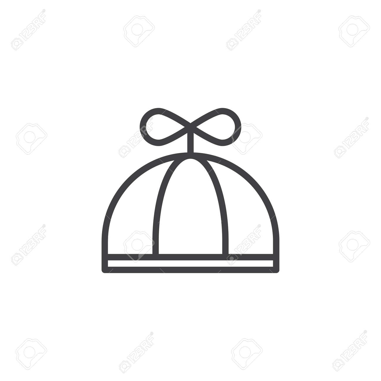 赤ちゃん帽子ライン アイコン、アウトライン記号、線形スタイル クリップ