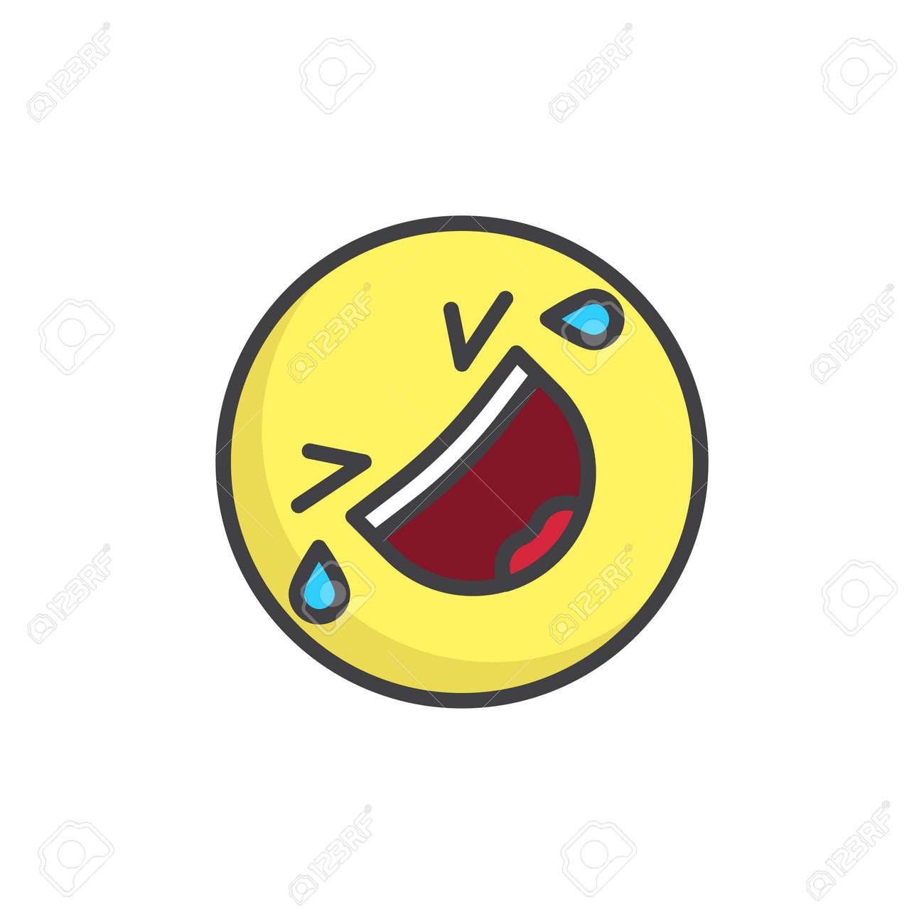 床に転がって笑う顔文字はアウトラインアイコンを塗りつぶし ラインベクトル記号は 線形のカラフルなピクトグラムは 白に分離しました のイラスト素材 ベクタ Image