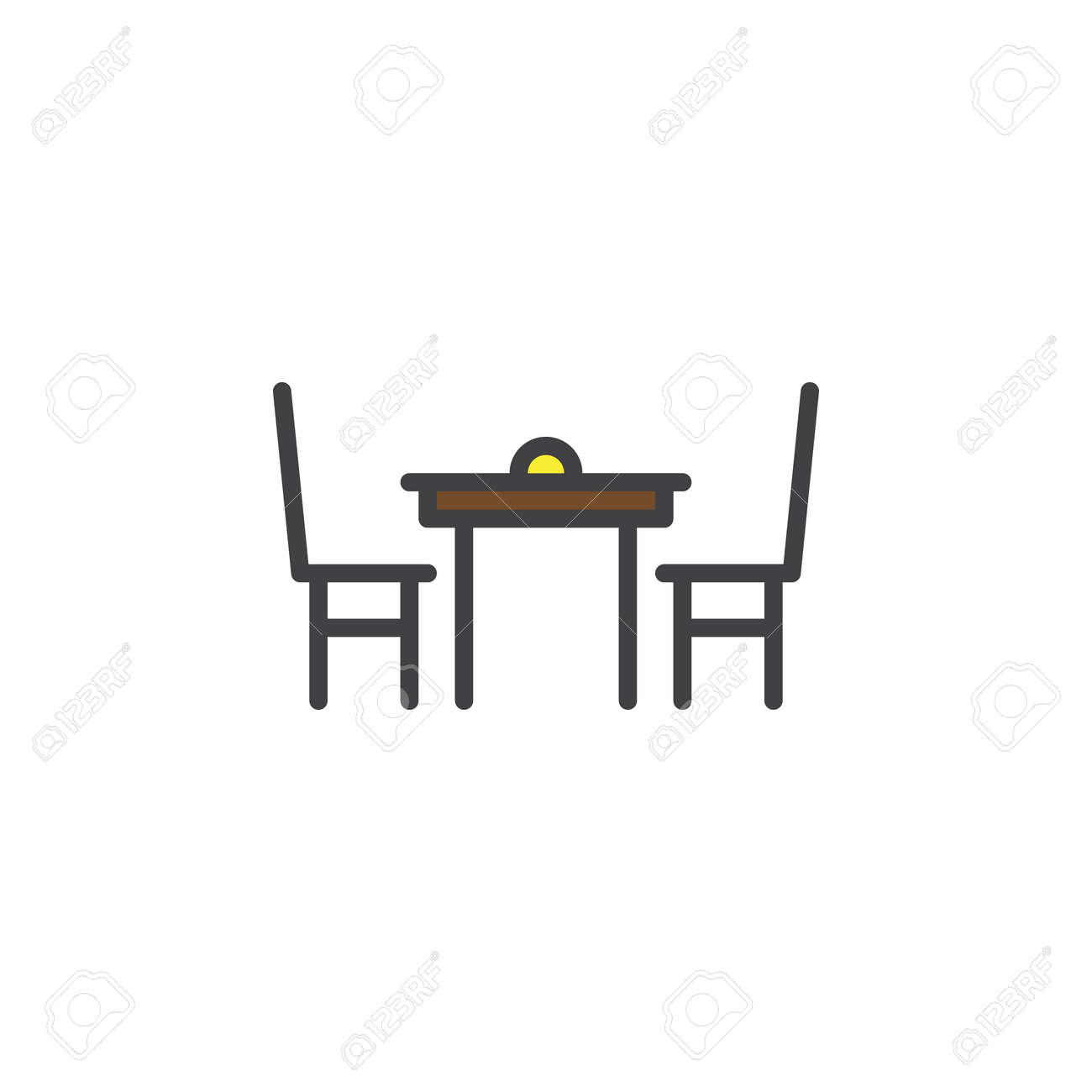 Dining Table With Chairs Filled Outline Icon Line Vector Sign Linear Colorful Pictogram Isolated
