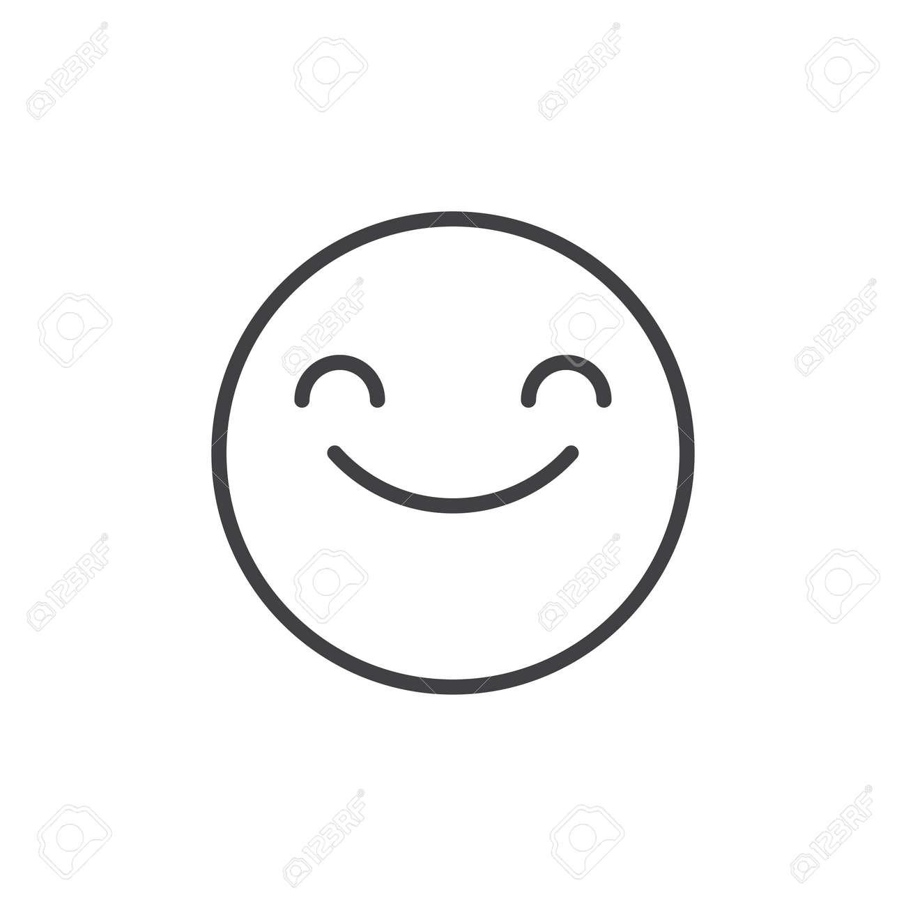 目絵文字ライン アイコンをにっこり笑顔、アウトライン ベクトルの署名 ...