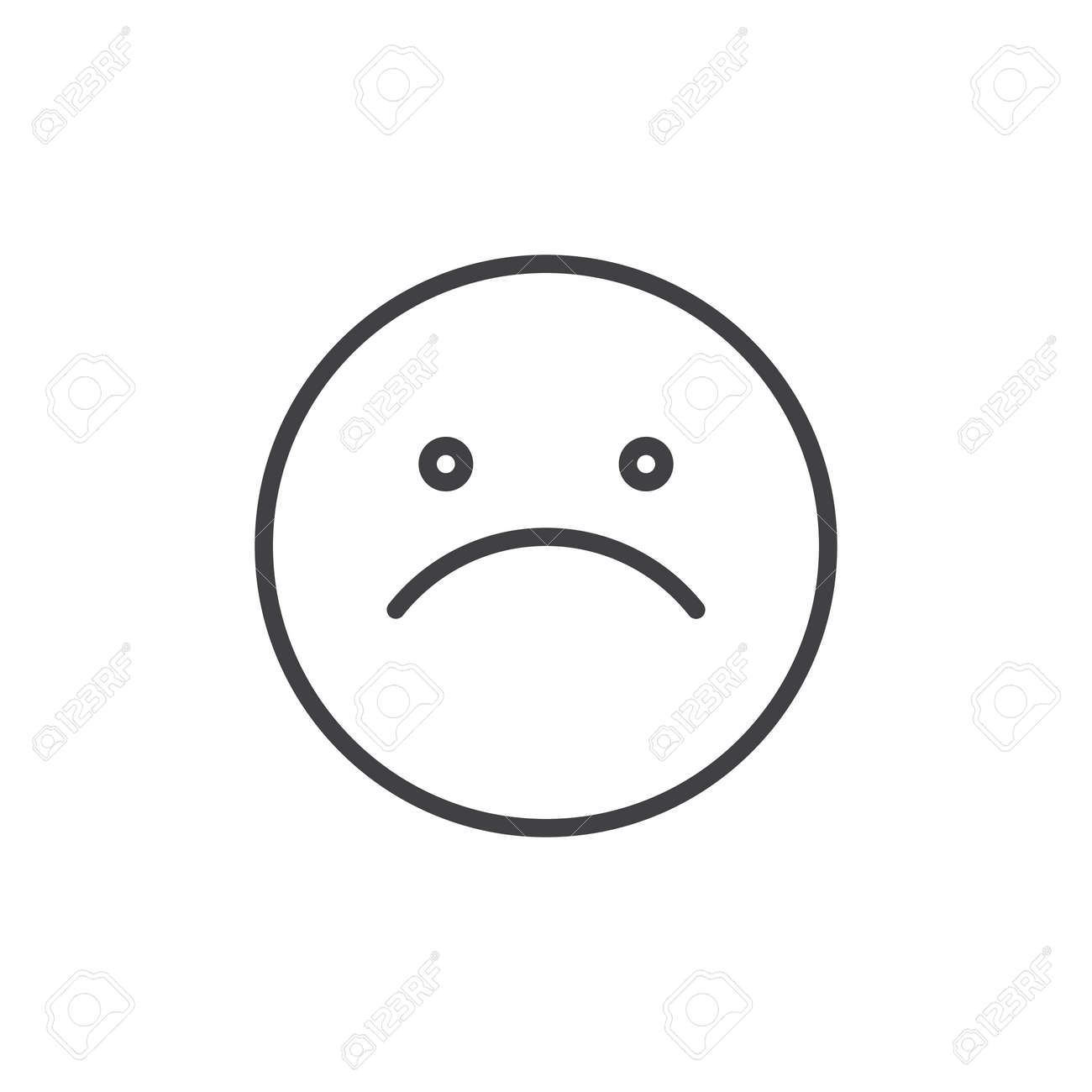 Slightly frowning face emoticon line icon outline vector sign slightly frowning face emoticon line icon outline vector sign linear style pictogram isolated on buycottarizona Gallery