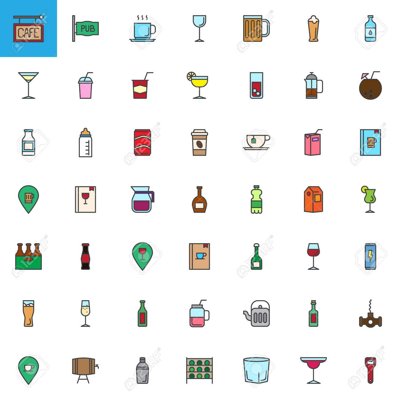 Cafe Bar Drinks And Beverages Filled Outline Icons Set Colorful