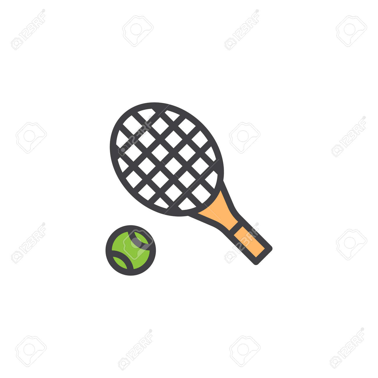 Tennis Racket And Ball Filled Outline Icon Line Vector Sign