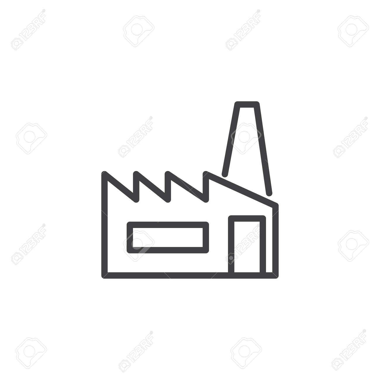 Factory line icon, outline vector sign, linear style pictogram.. on