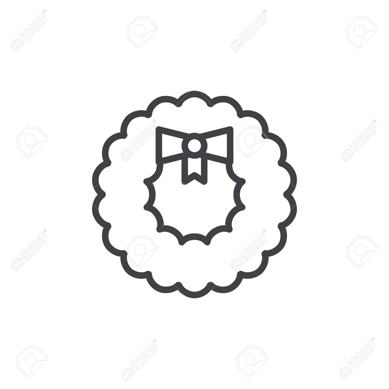 Christmas Wreath Decoration Line Icon Outline Vector Sign Linear