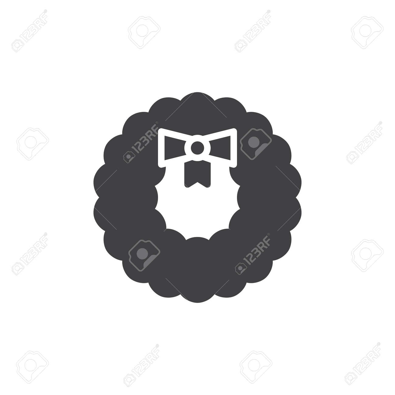 Christmas Wreath Decoration Icon Vector Filled Flat Sign Solid