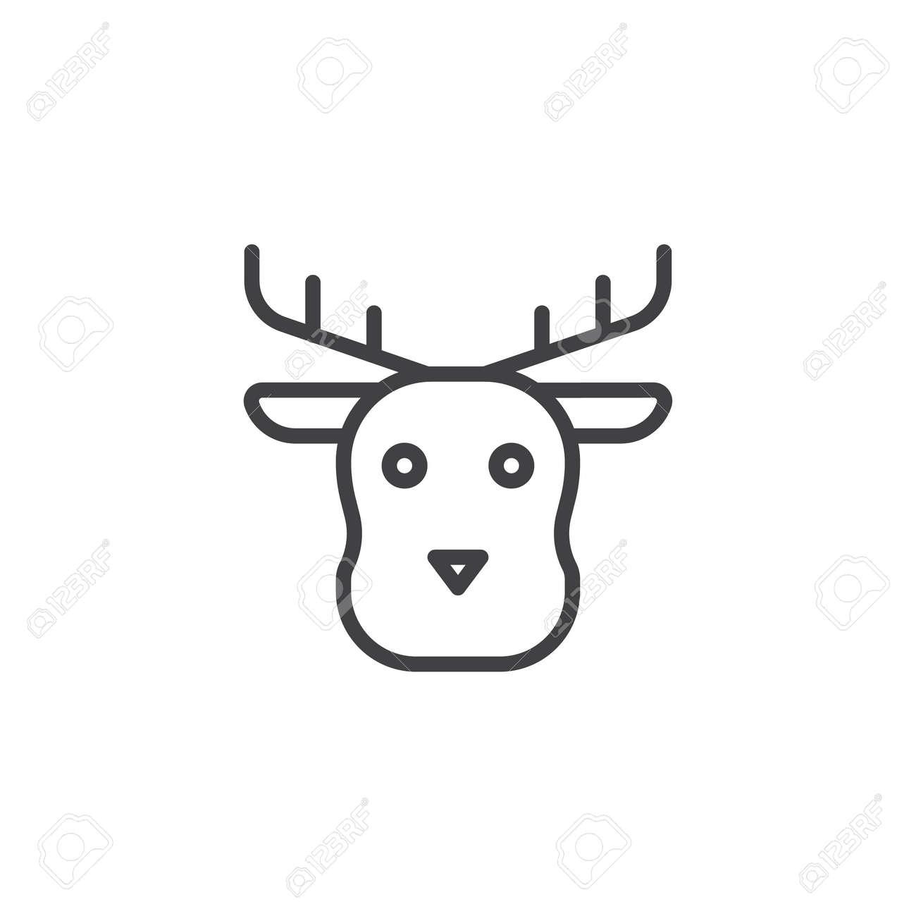christmas reindeer animal head line icon outline vector sign