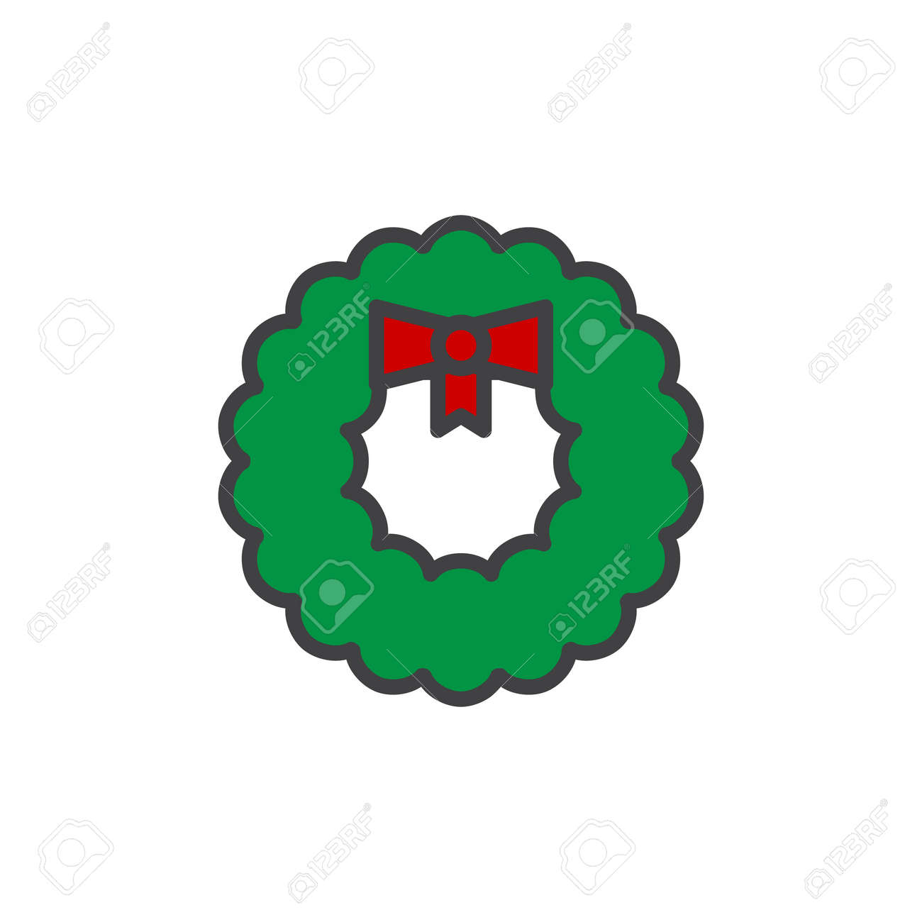 Christmas Wreath Decoration Filled Outline Icon Line Vector Sign Linear Colorful Pictogram Isolated On