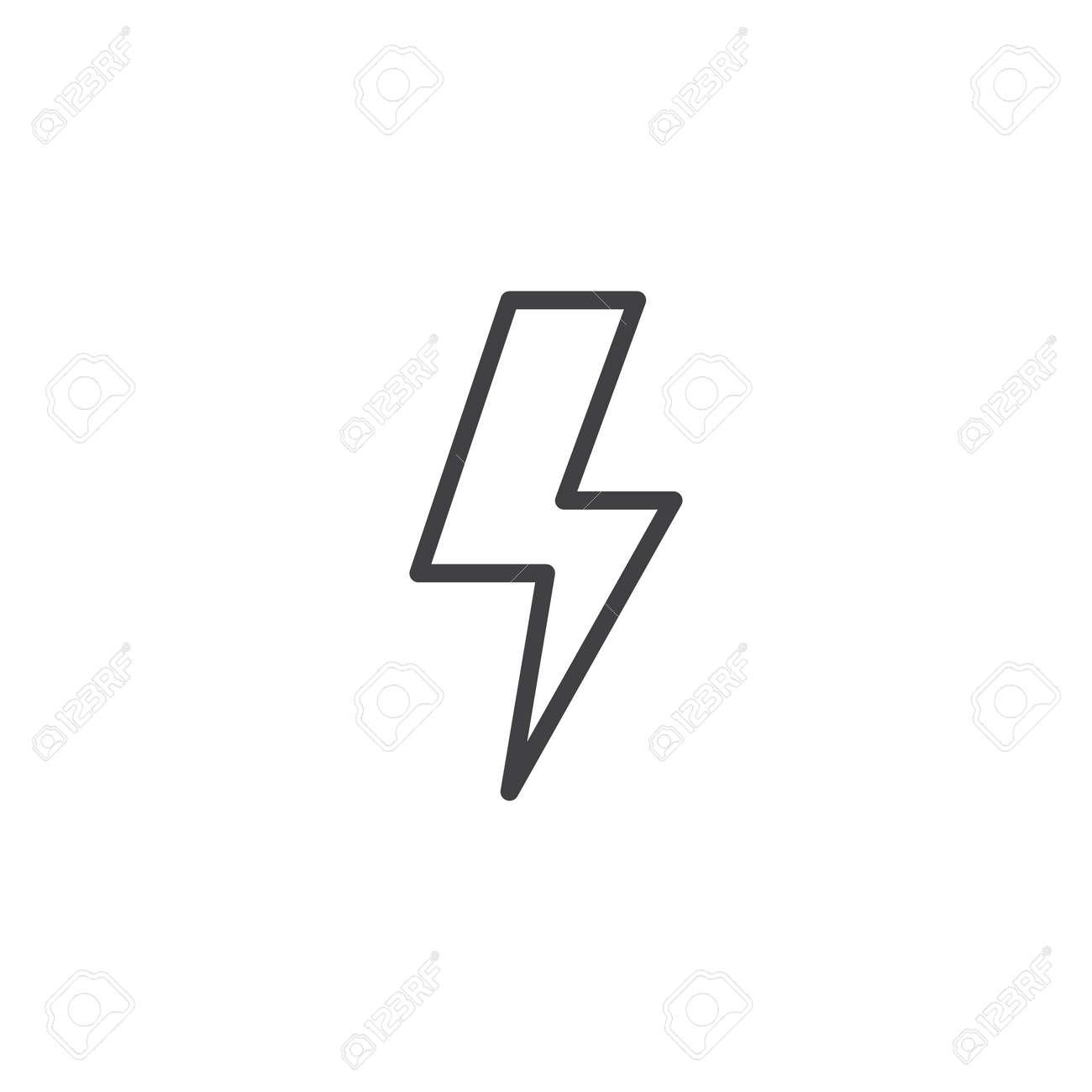 Lightning Bolt Line Icon, Outline Vector Sign, Linear Style ...