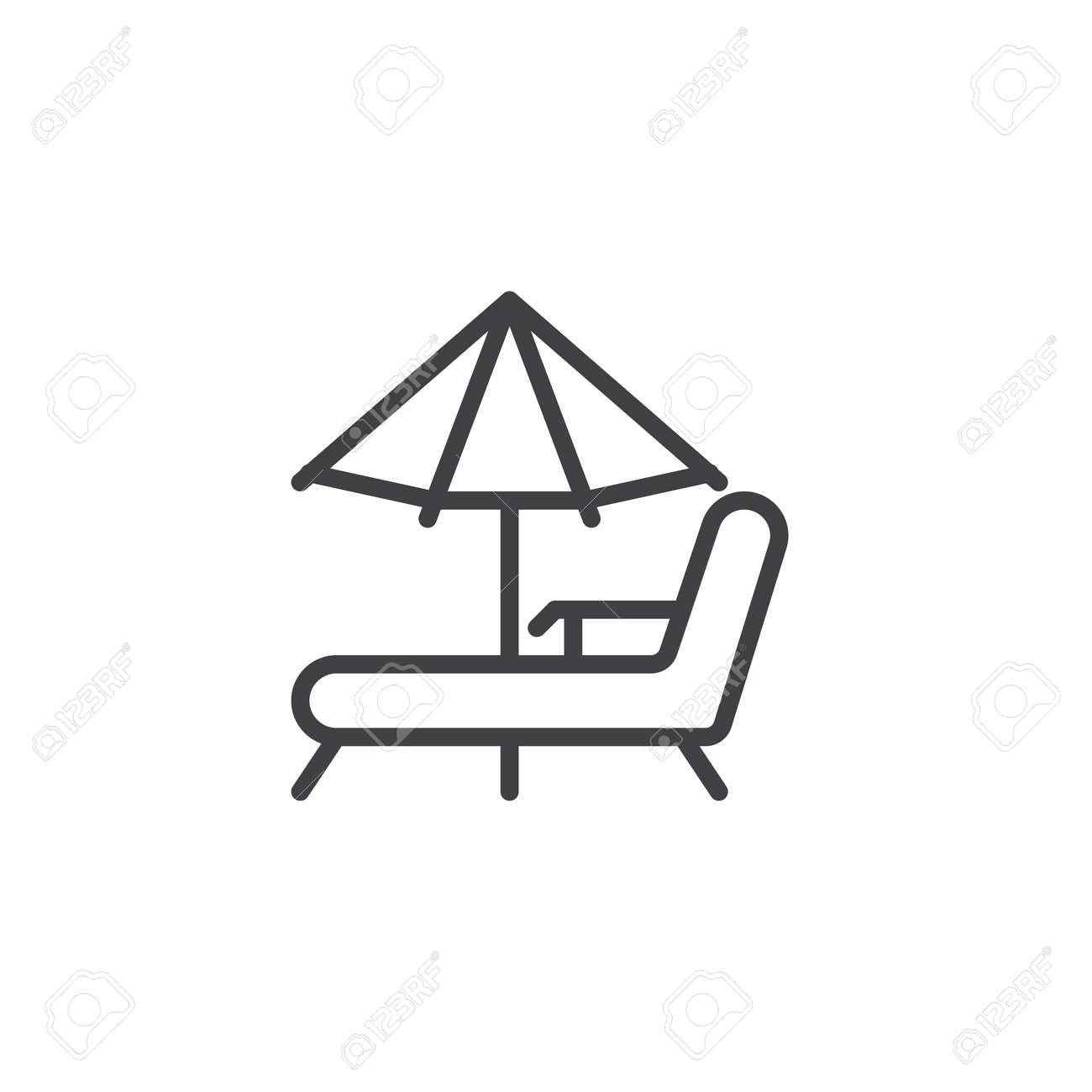 Strandwagenaufenthaltsraume Und Regenschirm Zeichnen Ikone