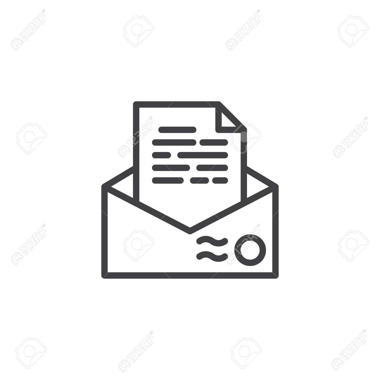 Recommendation Letter Envelope Line Icon Outline Vector Sign