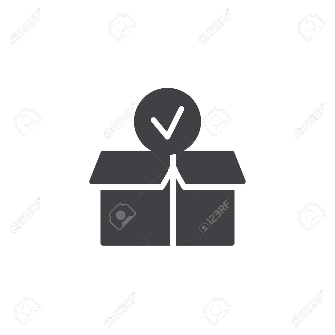 Package Paper Box With Check Mark Icon Vector Filled Flat Sign