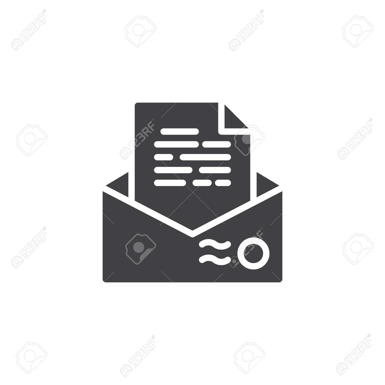 illustration recommendation letter envelope icon vector filled flat sign solid pictogram isolated on white resume mail symbol logo illustration