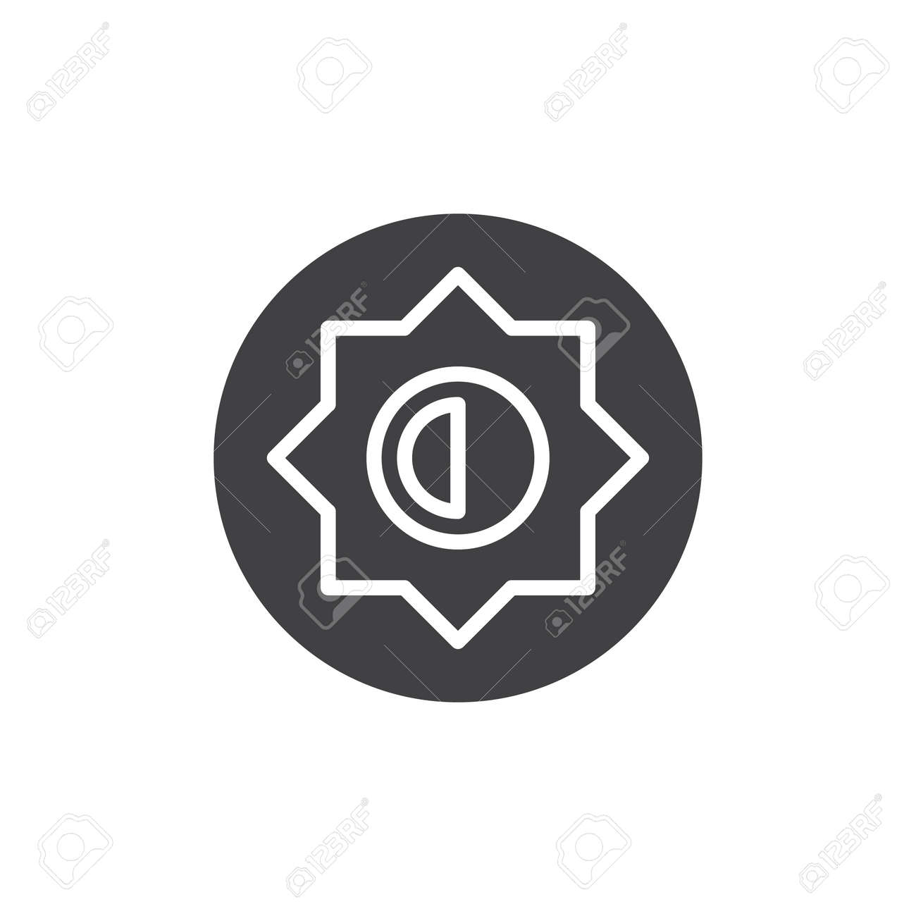 Brightness and contrast setting icon vector, filled flat sign,