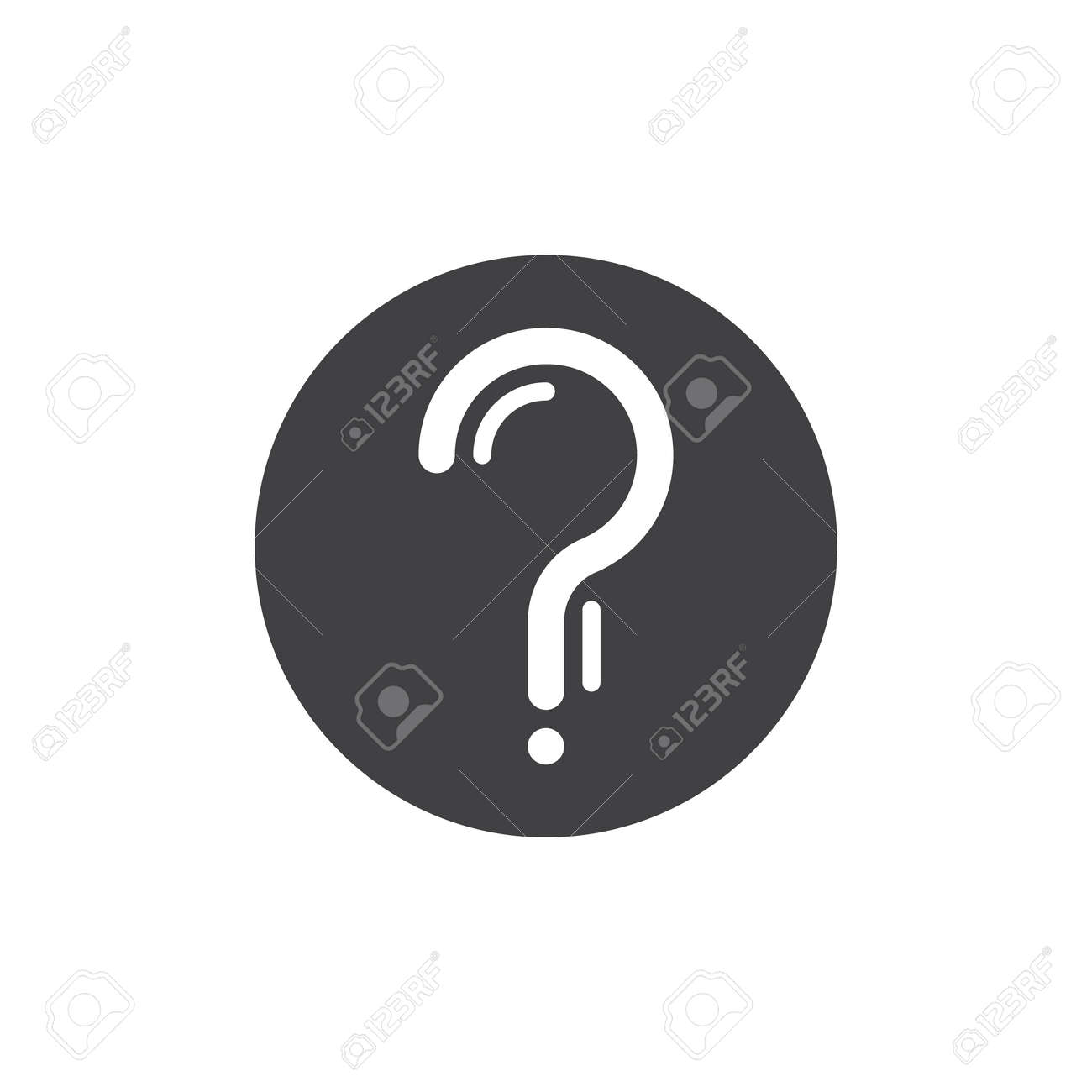 Question mark in a circle simple icon, filled flat sign, solid