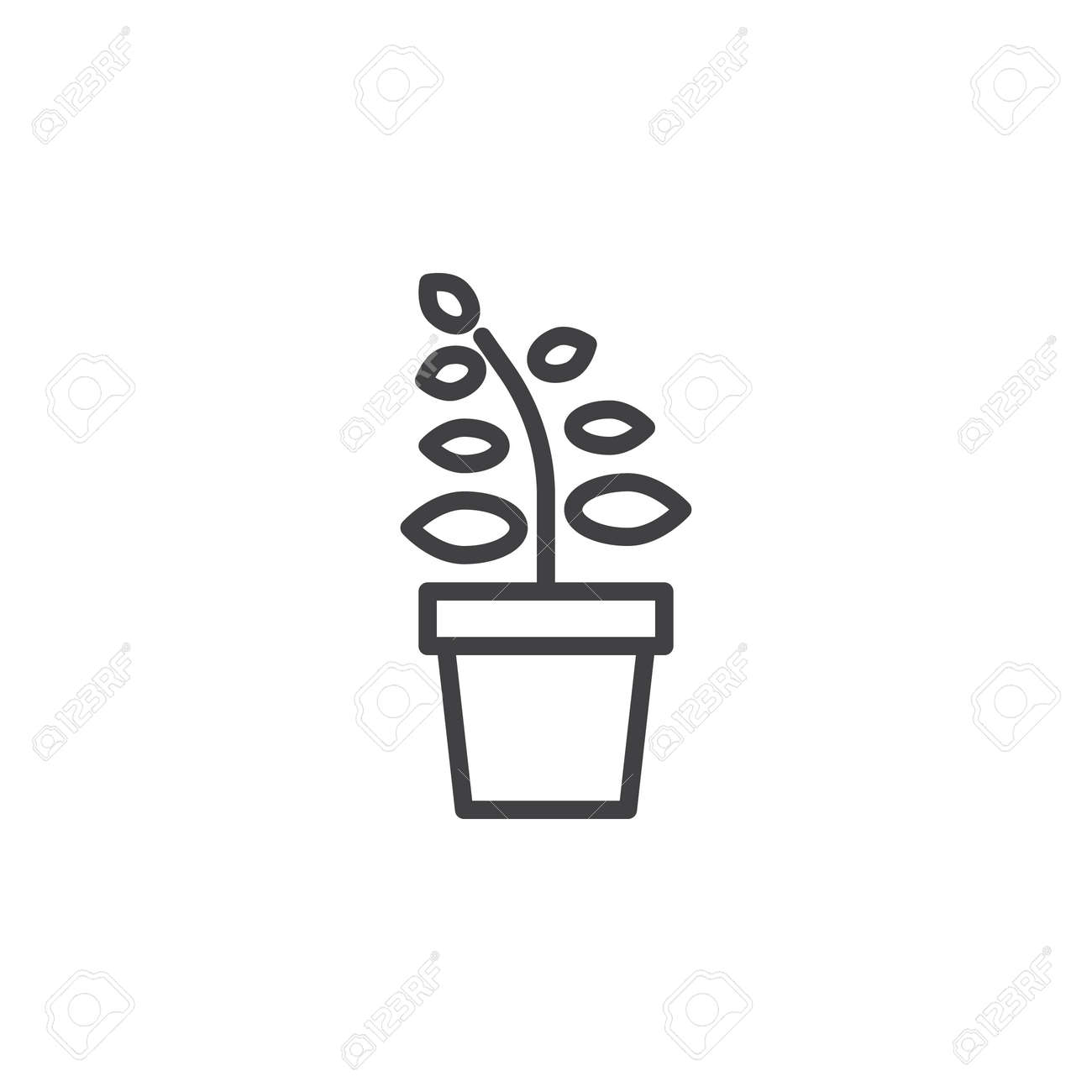 Plant in flower pot line icon outline vector sign linear style pictogram isolated on  sc 1 st  123RF.com & Plant In Flower Pot Line Icon Outline Vector Sign Linear Style ...