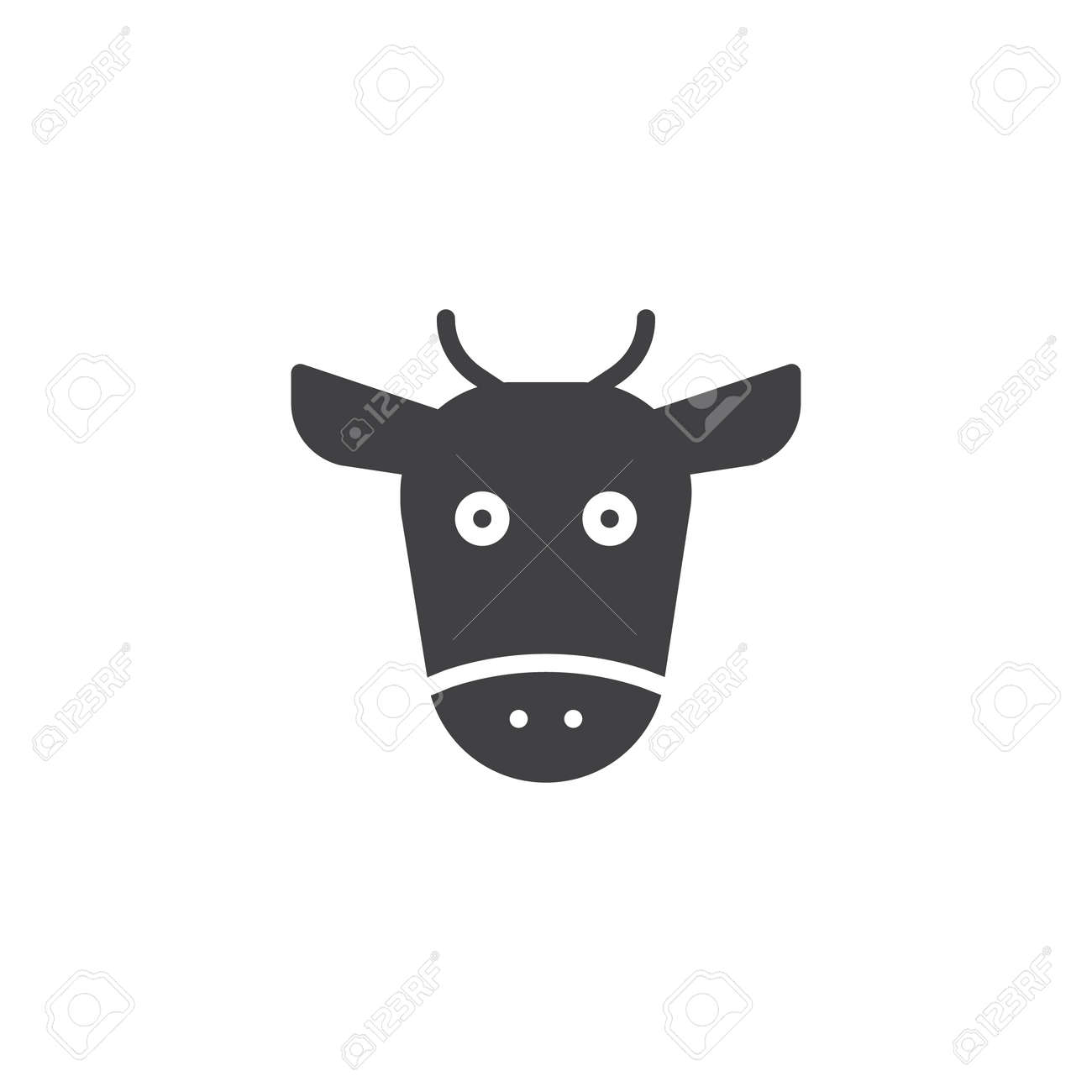 Cow Head Icon Vector Filled Flat Sign Solid Pictogram Isolated