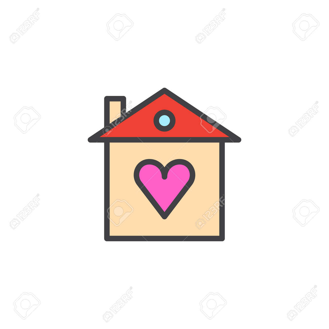Heart Home Filled Outline Icon Line Vector Sign Linear Colorful