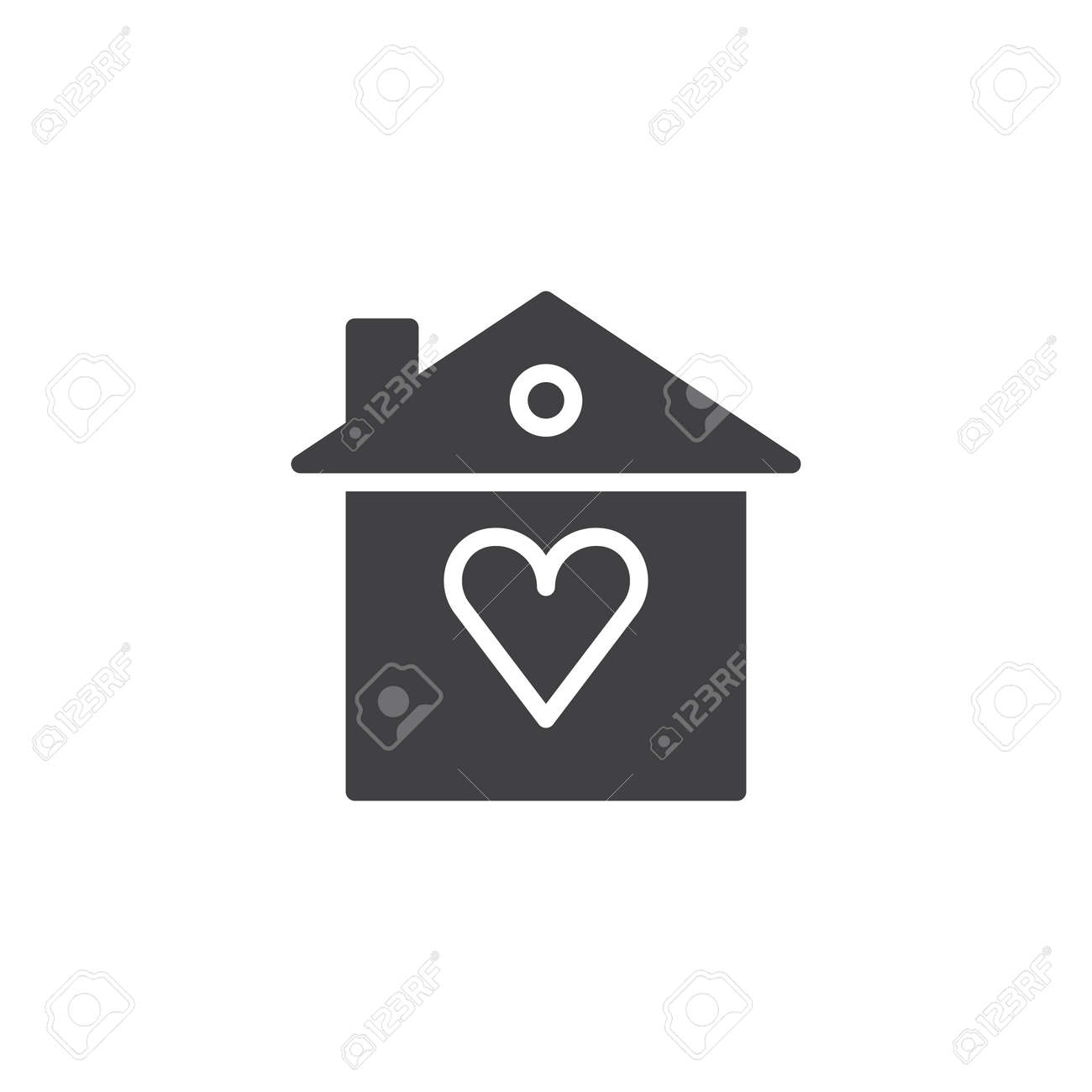 Heart Home Icon Vector Filled Flat Sign Solid Pictogram Isolated