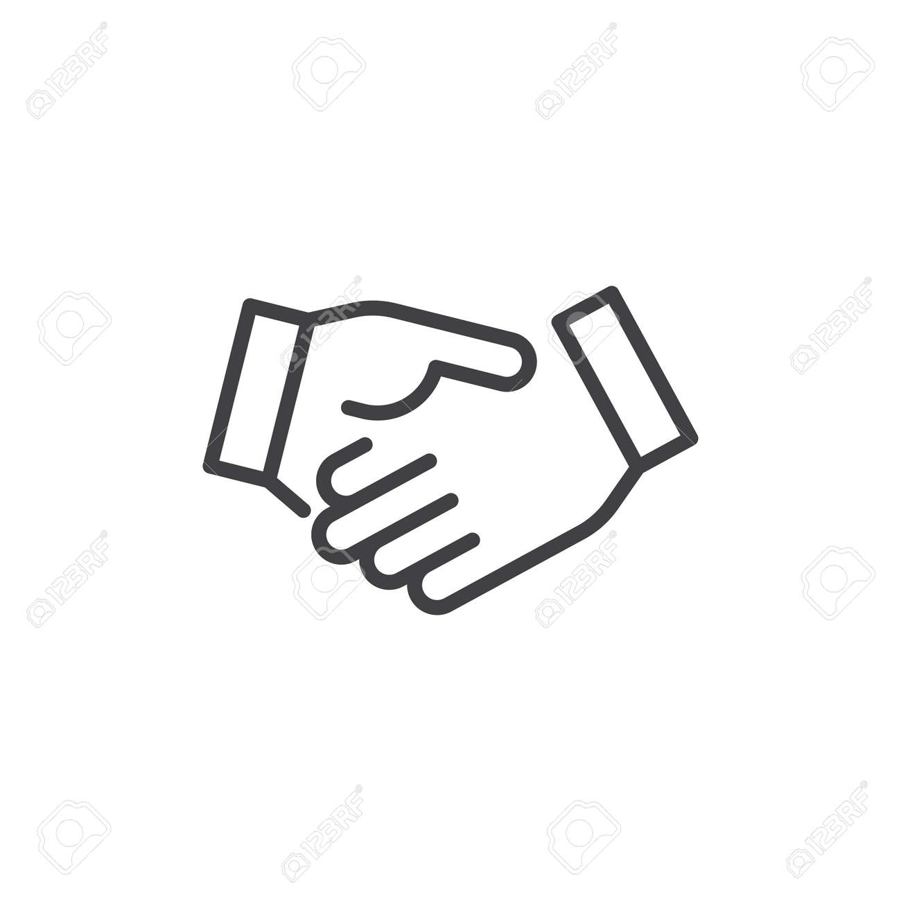 Business handshake line icon, outline vector sign, linear style pictogram isolated on white. Agreement, Shaking hands symbol, illustration. Editable stroke - 92847050
