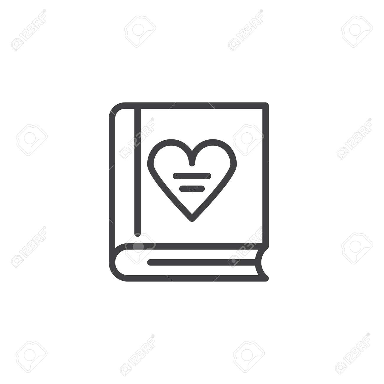 Livre Avec Amour Icone De Ligne De Coeur Contour Vector Signe Pictogramme De Style Lineaire Isole Sur Blanc Symbole De La Saint Valentin