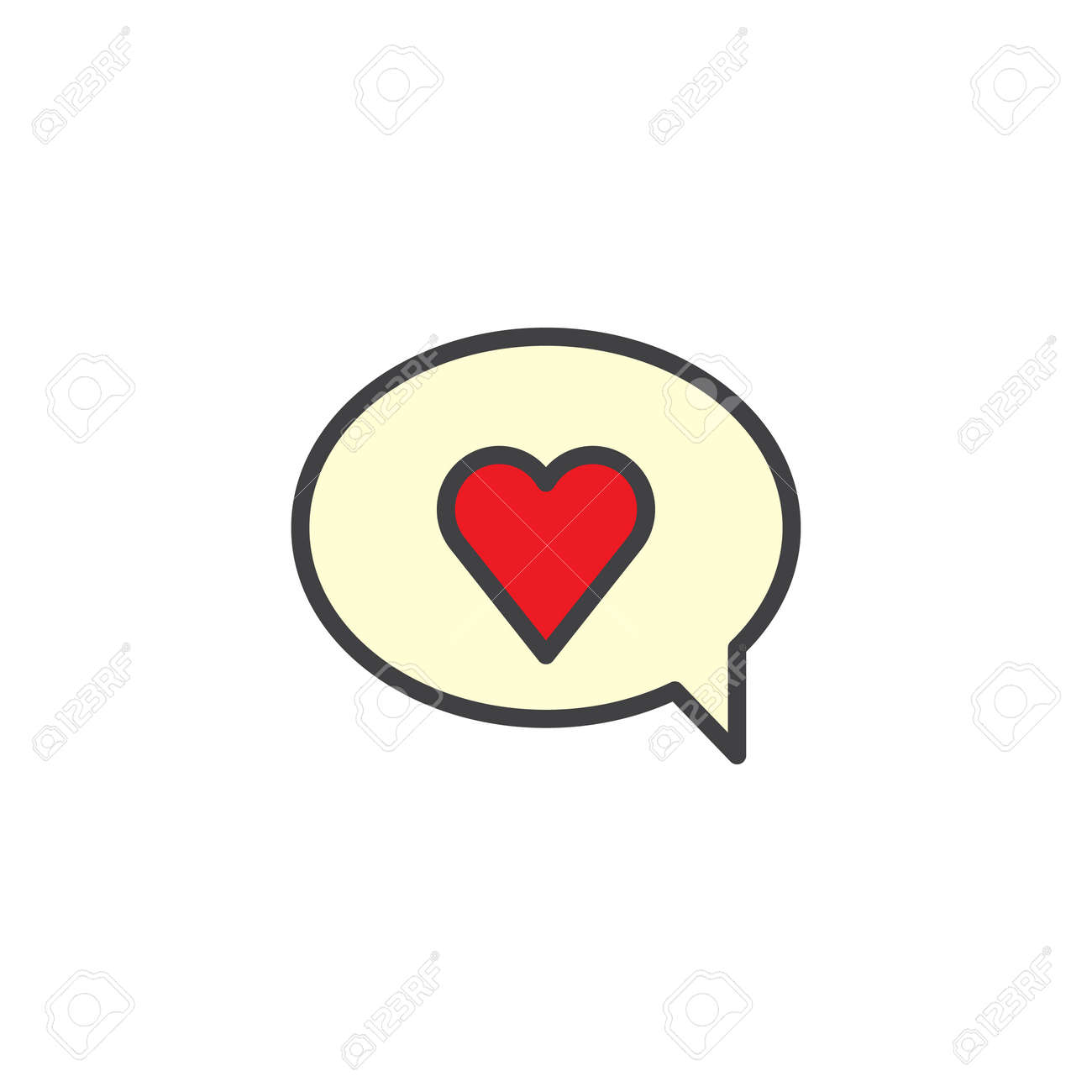 Valentines day speech bubble with red heart filled outline icon valentines day speech bubble with red heart filled outline icon line vector sign linear biocorpaavc