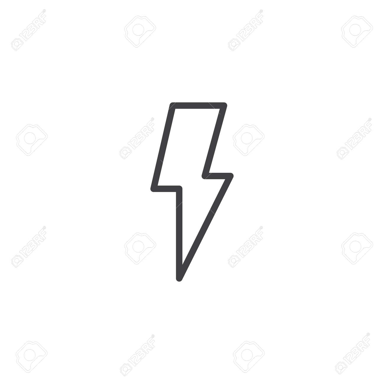 Lightning Bolt Line Icon Outline Vector Sign Linear Style Pictogram Isolated On White