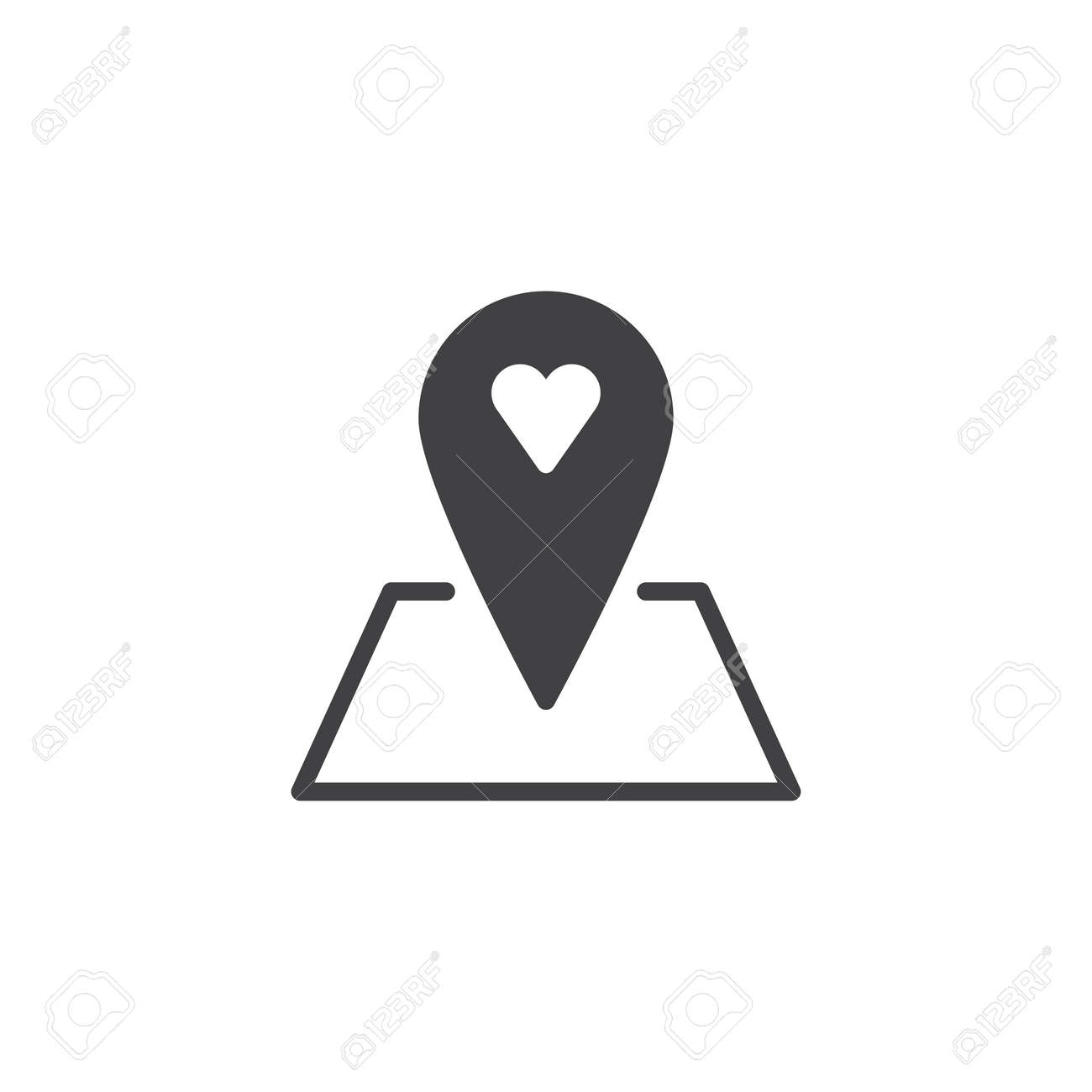 Love Location Icon Vector Filled Flat Sign Solid Pictograph