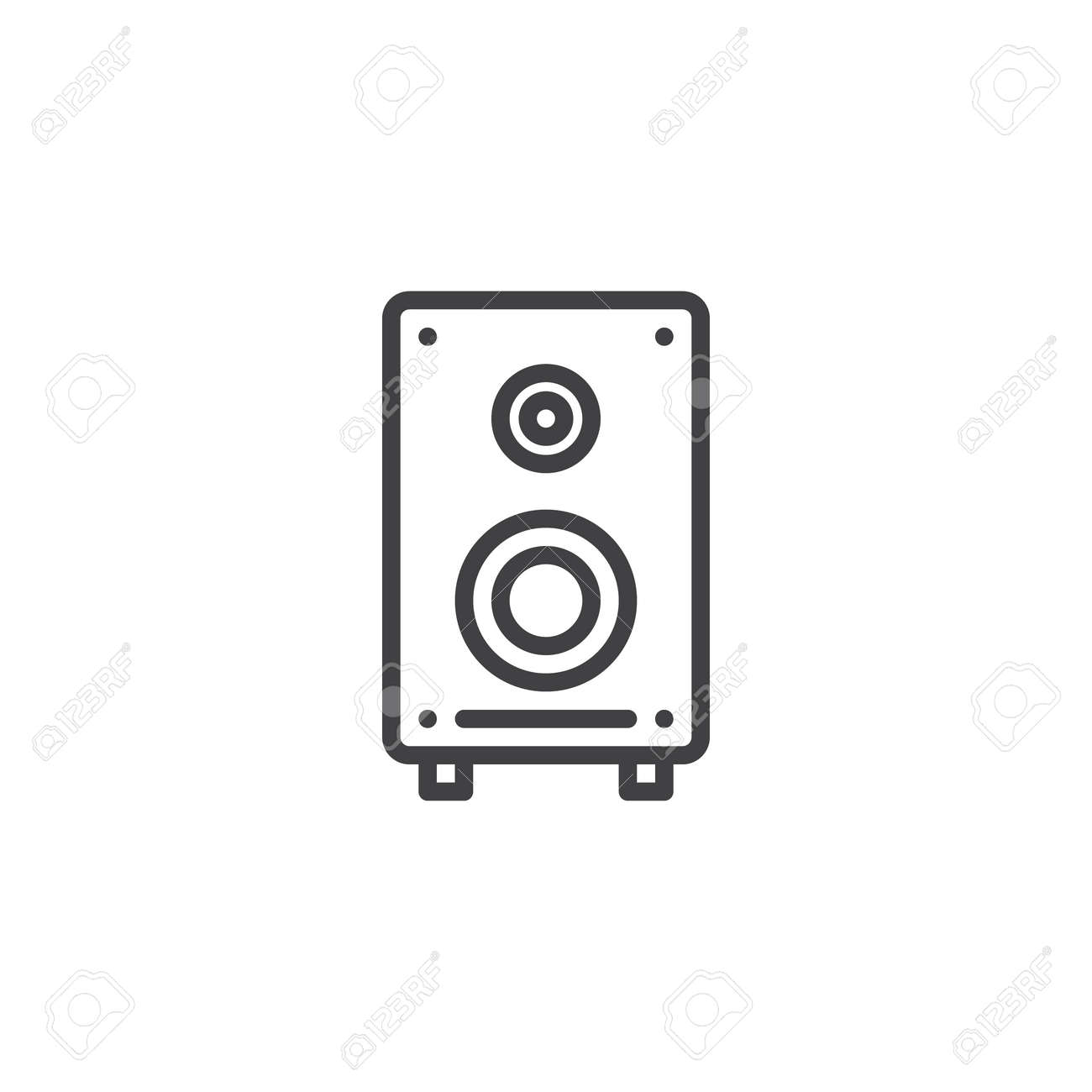 Sound Speaker Line Icon, Outline Vector Sign, Linear Style Pictogram ...