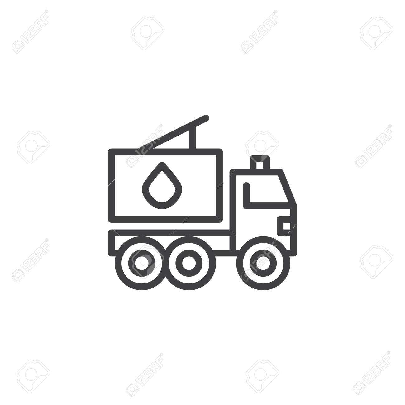 Fire Truck Line Icon Outline Vector Sign Linear Style Pictograph Isolated On White