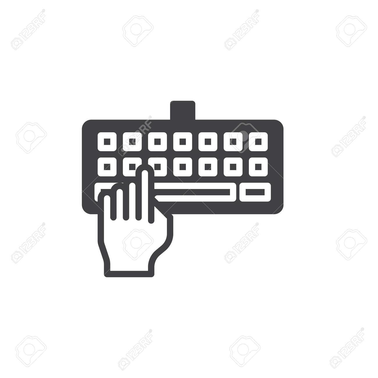 Main, tapant le clavier icône vecteur, rempli de signe plat