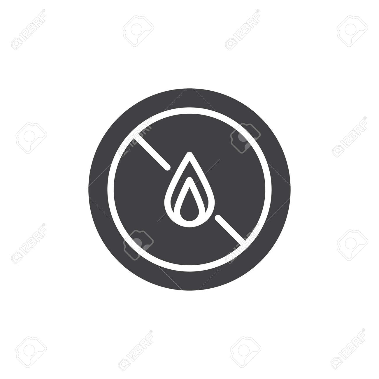 No Expose Flammable Liquids Icon Vector Filled Flat Sign Solid