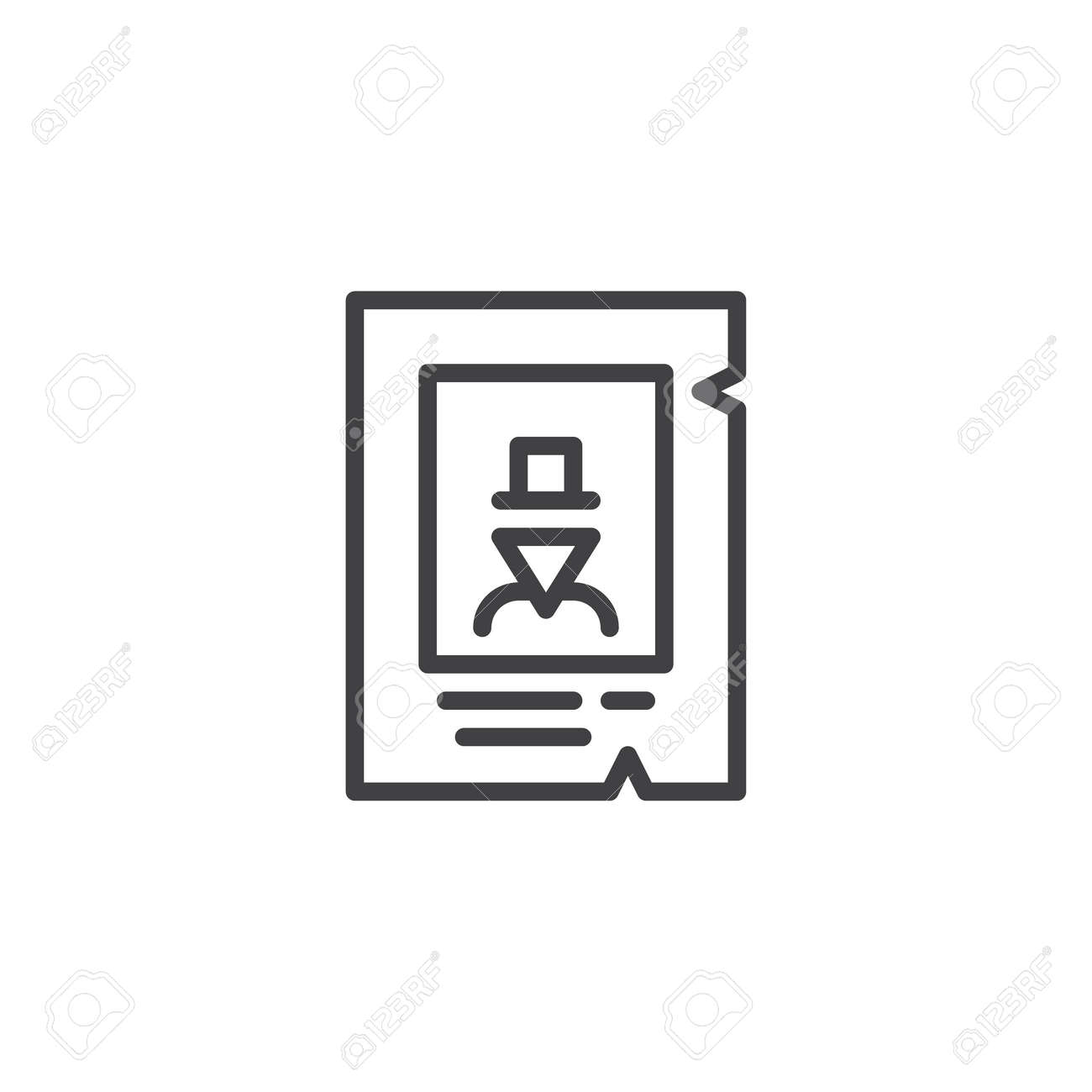 Western Wanted Poster Line Icon, Outline Vector Sign, Linear ...