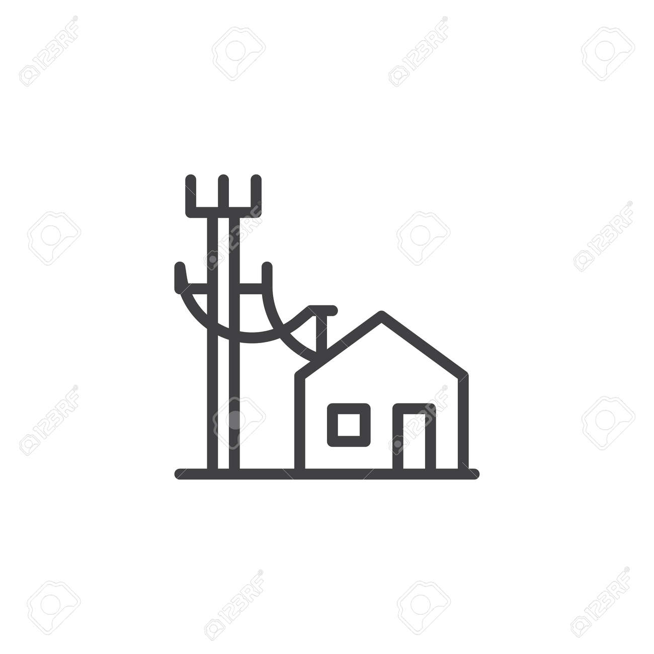 Electric Poles Line And House Line Icon, Outline Vector Sign ...
