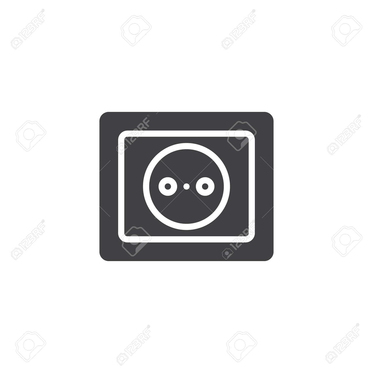 Power Socket Icon Vector Filled Flat Sign Solid Pictogram Isolated