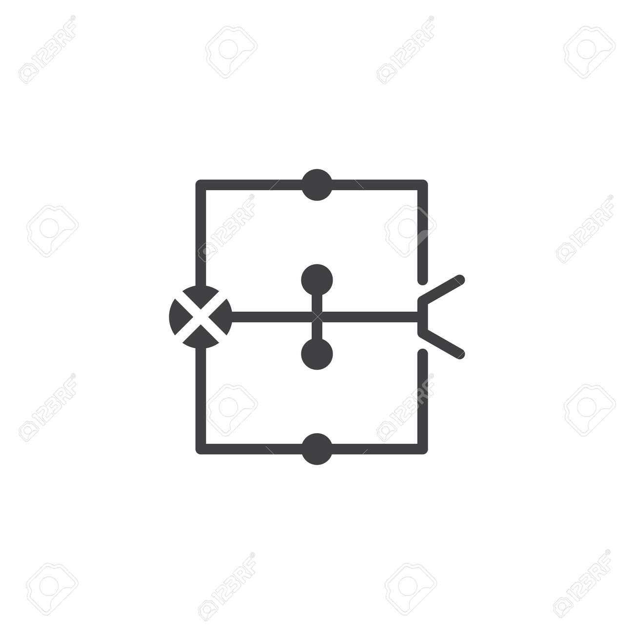 Wiring diagram icon vector, filled flat sign, solid pictogram isolated on housing scheme, blue scheme, filter scheme,