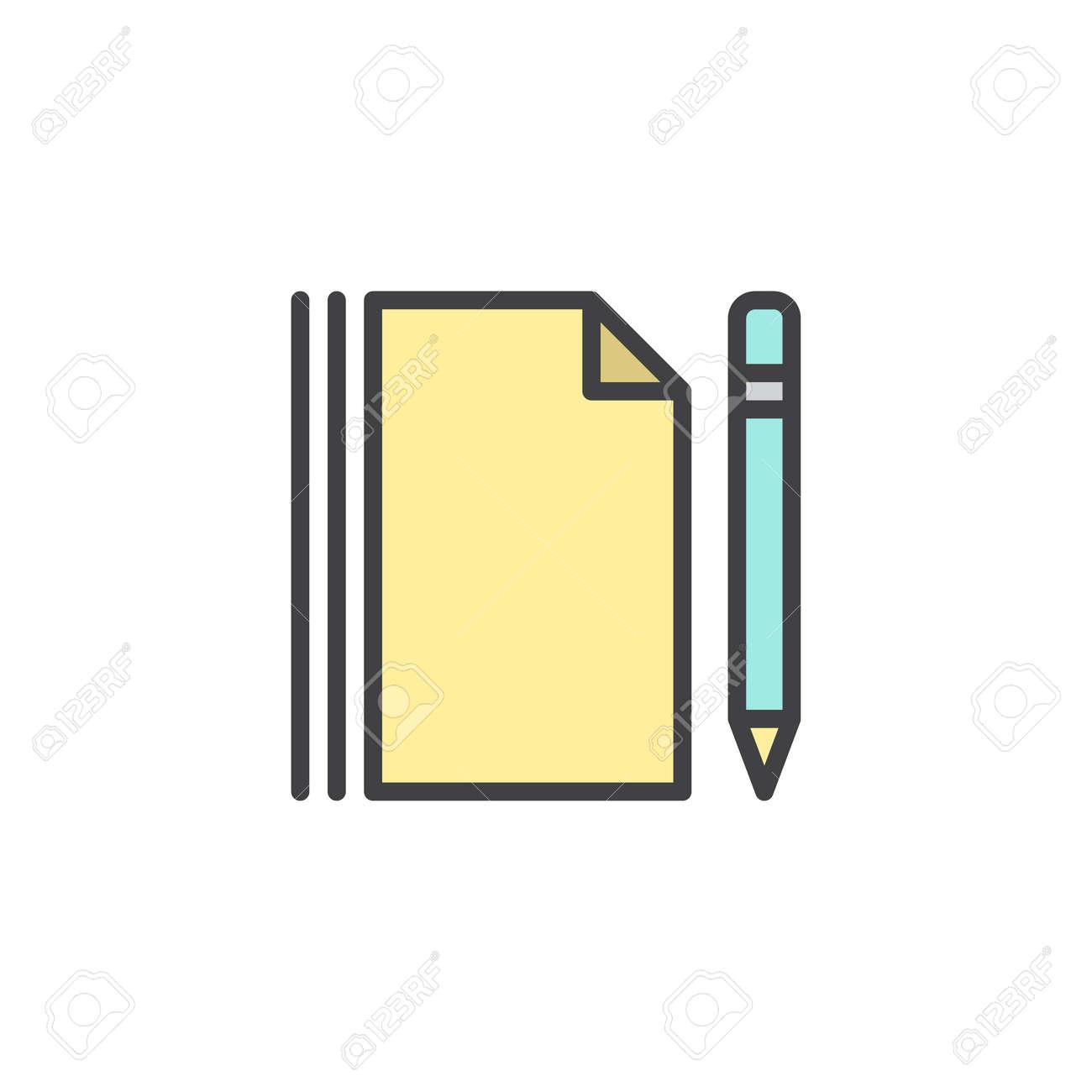 Feuille De Papier Vierge Et Icone De Contour Rempli De Stylo Signe De Vecteur De Ligne Pictogramme Colore Lineaire Isole Sur Blanc Page De Notes Et Symbole De Crayon Illustration Graphiques Vectoriels