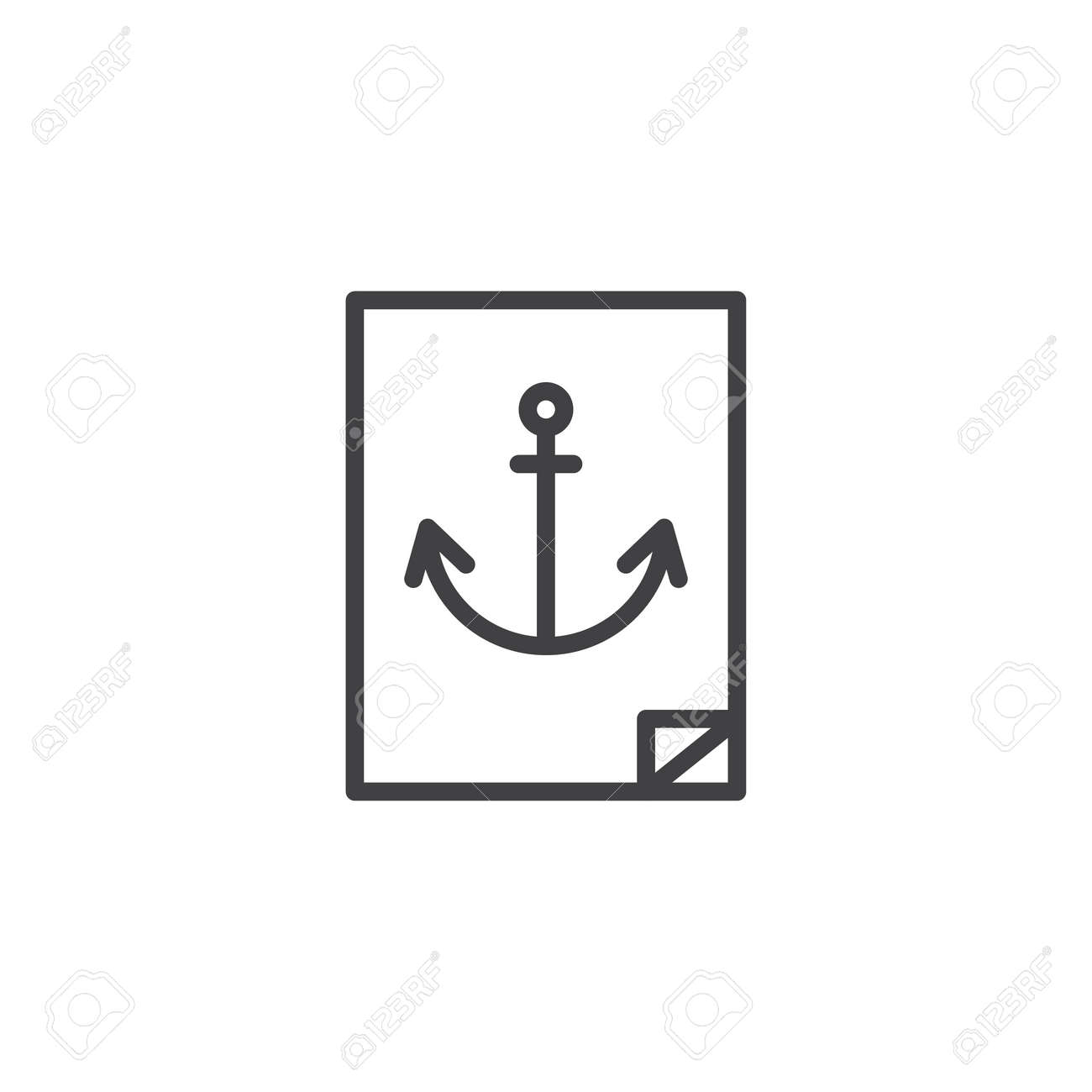 Navy anchor sticker outline icon linear style sign for mobile concept and web design