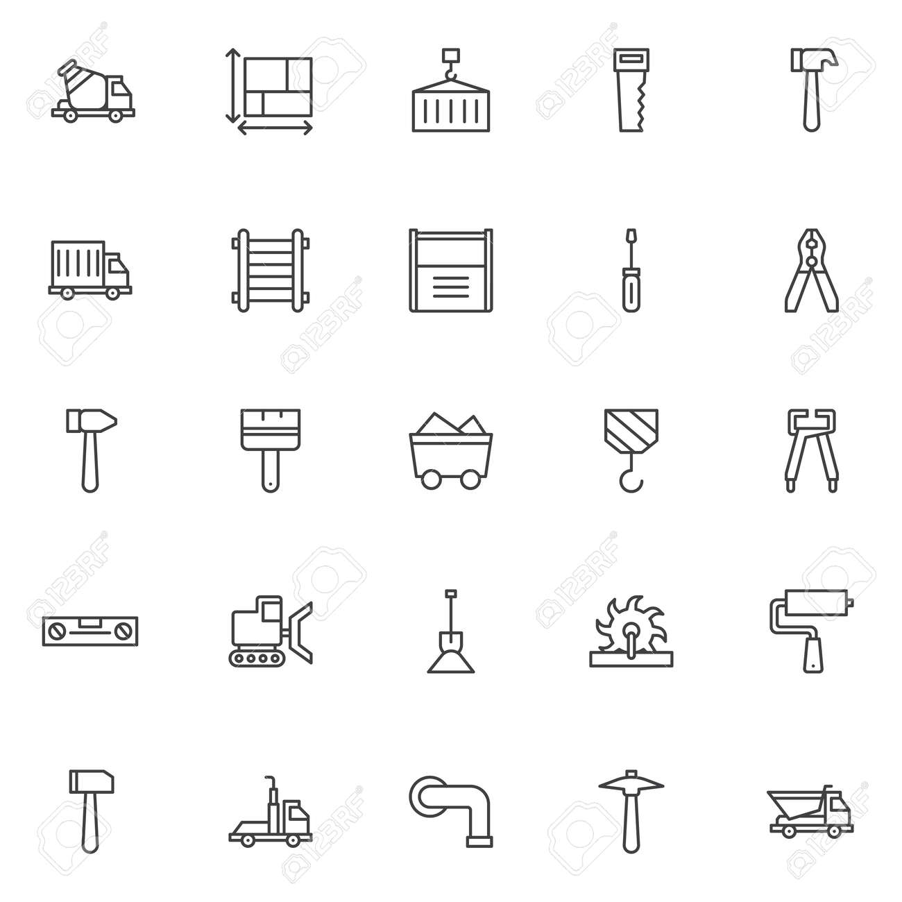 Construction outline icons set linear style symbols collection construction outline icons set linear style symbols collection line signs pack vector graphics malvernweather Images